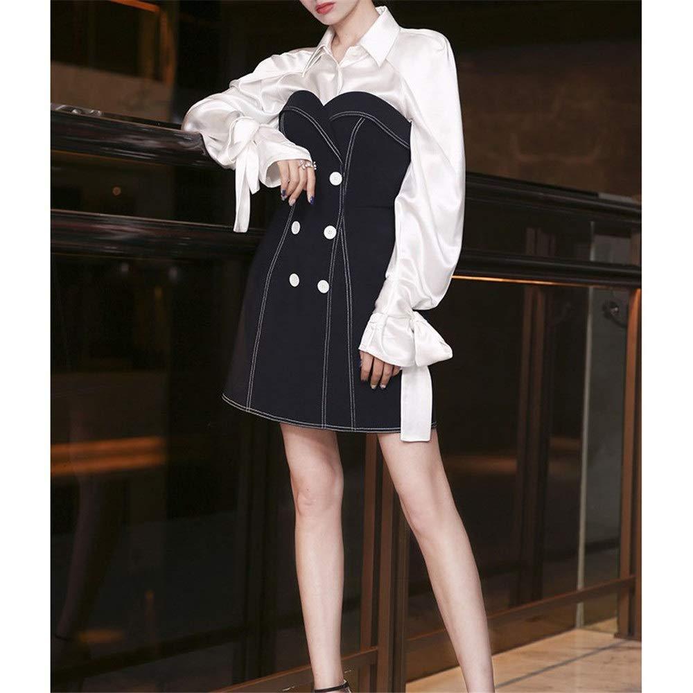 Vestido de negocios de dos piezas para mujer Vestido de manga larga Camisa blanca con cuello alto sin tirantes Mini vestido Bodycon Lápiz Vestido de cóctel Vestido de fiesta Vestido formal Ropa