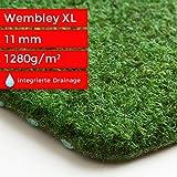 Steffensmeier Kunstrasen Teppich Wembley XL als Meterware | grüner Nadelfilz mit Noppen für Balkon, Terrasse, Camping in Grün, Größe: 300x250 cm