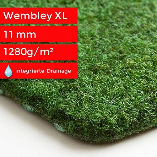 Steffensmeier Kunstrasen Teppich Wembley XL als Meterware | grüner Nadelfilz mit Noppen für Balkon, Terrasse, Camping in Grün, Größe: 300x350 cm