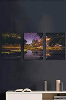 3 Piece Canvas Wall Art, Lantern Forest Night Wall Art Paintings, Canvas Prints Wall Art Bedroom Living Room Home Decoration, 24