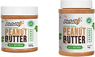 Pintola All Natural Crunchy Peanut Butter, 350G (Unsweetened, Non-GMO, Gluten Free, Vegan) and Pintola All Natural Crunchy Peanut Butter, 1Kg (Unsweetened, Non-GMO, Gluten Free, Vegan)