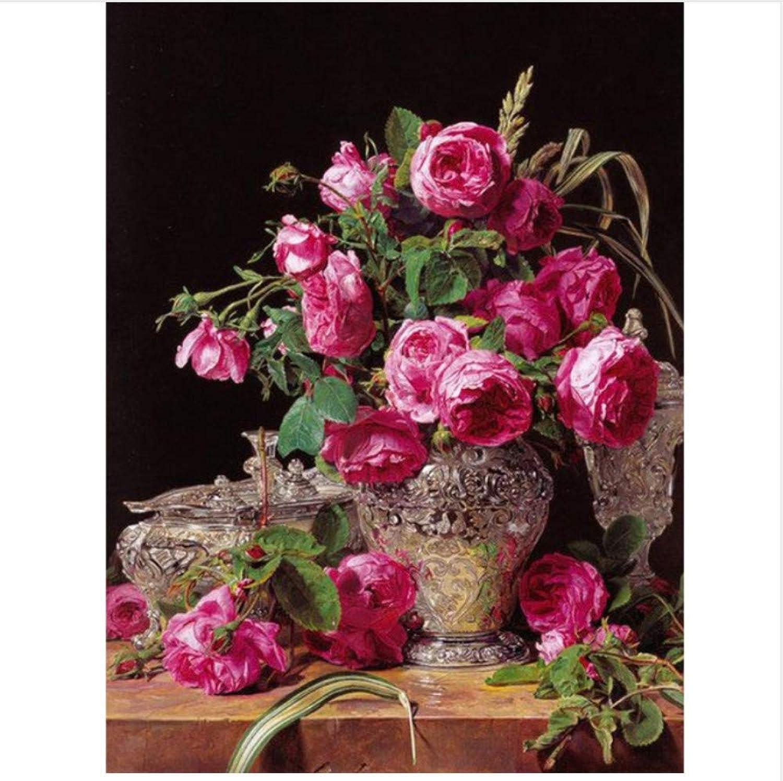Malen Nach Zahlen Für Erwachsene Roten Blaumenstrauß Und Vintage Vase DIY Home Decor-Framed B07Q5Q23PK   Offizielle