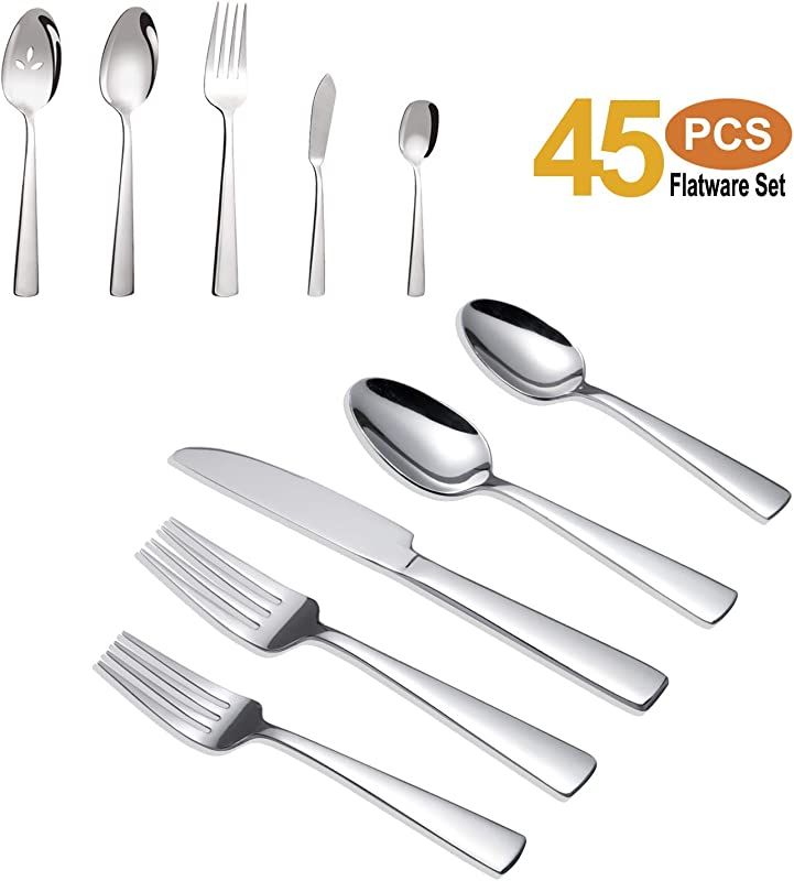 Brightown 45 Piece Silverware Flatware Cutlery Set In Ergonomic Design Size And Weight Durable Stainless Steel Tableware Service For 8 Dishwasher Safe