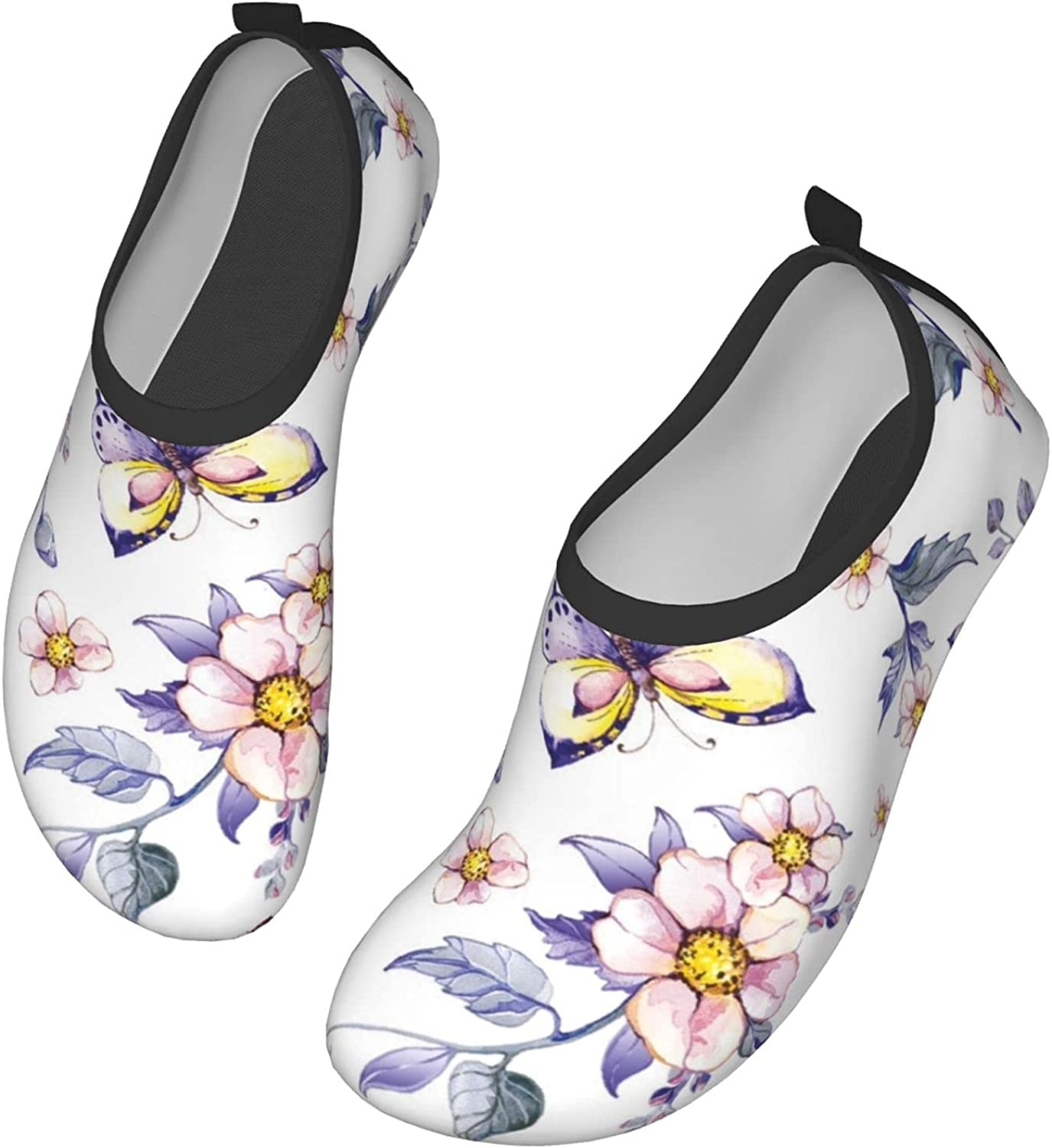 Fasso with Flowers, Leaves, Butterflies Womens and Mens Water Shoes Barefoot Quick-Dry Aqua Socks Slip-On for Outdoor Beach Swim Yoga