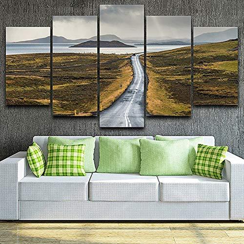 HOMEDCR Väggmålningar affischer heminredning vardagsrum 5 paneler sjöstrand ö vägmålning i kanvas väggkonst bildtryck