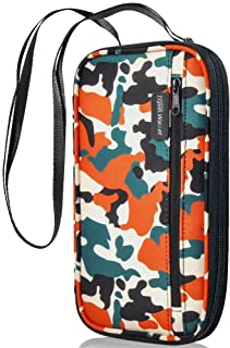 【Latest】 RFID Passport Holder LUXSURE Waterproof Neck Travel Wallet Multiple Zipper Family Passport Holder for Women/Men with Wrinkle Resistant Nylon Fabric (Camouflage)