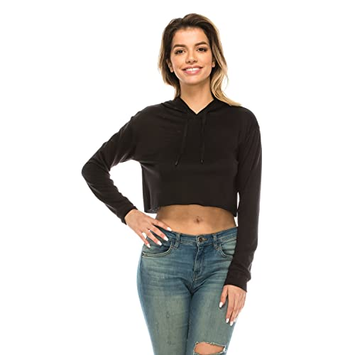 b6dd4daba42 The Classic Women's Loose Cropped Long Sleeve Drawstring Hoodie Sweatshirt