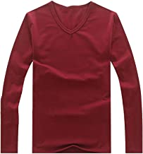 ZFADDS New Spring High-Elastic Cotton T-Shirts Men's Long Sleeve V Neck Tight T Shirt
