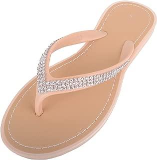 ABSOLUTE FOOTWEAR Womens Slip On Style Diamante Flip Flops/Sandals/Mules