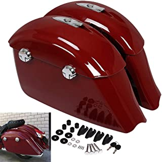 TCMT Saddle Bag Electronic Latch Lid Fits For Indian Chieftain Springfield Dark Horse (Red Saddlebags with Electronic Latches)