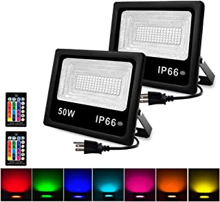 50W RGB floodlight, LED floodlight, outdoor color floodlight, IP66 waterproof RGB LED landscape light, with remote control and American 3-pin plug LED outdoor garden light (2Pack)