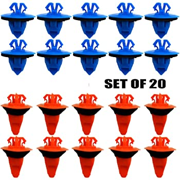 ALLMOST Set of 20: Orange & Blue for Compatible with Toyota Trim Moulding Clips 75395-35070 & 75396-35020 New