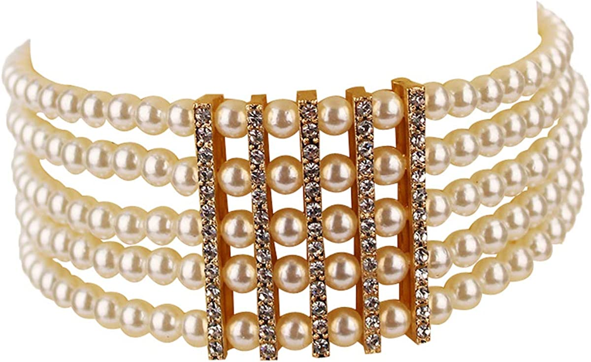 White Pearl Necklace for Women Crystal Pearl Choker Necklaces for Wedding Party Jewelry Set