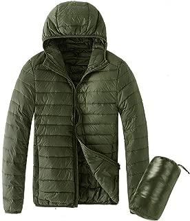 Beautyfine Coat Men's Ultra Light White Duck Down Jacket Warm Carrying Bag Long Sleeve Solid Color Hooded Jacket