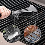 """Grill Brush and Scraper - Extra Strong BBQ Cleaner Accessories - Safe Wire Bristles 18""""Stainless Steel Barbecue Triple Scrubber Cleaning Brush for Weber Gas/Charcoal Grilling Grates, Best wizard tool"""