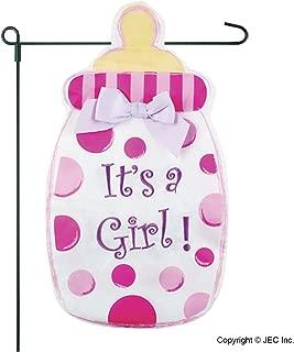 New Baby Banner Baby Girl Garden Flag, Yard Sign, Car Decoration - Pink Baby Bottle Polka Dot Design It's A Girl On Burlap Banner - 12x18 - Home Garden Flag
