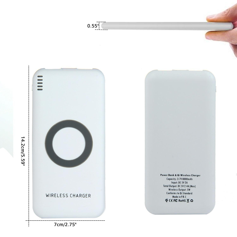 Cargador inalámbrico portátil powecore para iphone X 8 Plus, 8000 mAh gran capacidad carga rápida banco de energía batería externa con 2 puertos USB para Samsung Galaxy Note 8 S8 y más –