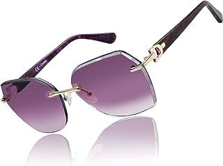 نظارات شمسية بدون إطار كبيرة الحجم للنساء عصرية هندسية قطع الماس متدرجة عدسات حماية من الأشعة فوق البنفسجية نظارات الموضة