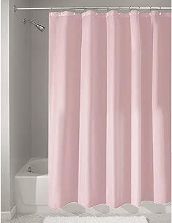 iDesign Fabric Shower Curtain, Mildew-Resistant Bath Curtain for Master Bathroom, Kid's Bathroom, Guest Bathroom, 72 x 72 Inches, Pink