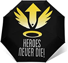 Mercy Heroes Never Die Logo Ov-erwatch Windproof Compact Auto Open And Close Folding Umbrella,Automatic Foldable Travel Parasol Umbrella