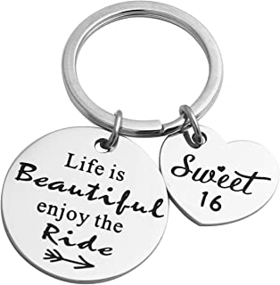 Ikunne Life is Beautiful Enjoy The Ride, Gift for 16th Birthday, 16th Keychain, Sweet 16 Gift for 16 Year Old Girl