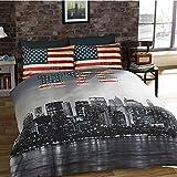 New York Parure de lit New York NYC Housse de Couette 200cm x 200cm avec 2 taies