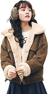 Women Winter Thicked Sherpa Lined Relaxed Fit Corduroy Trucker Jacket Coat