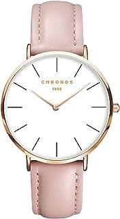Relojes Mujer y Hombre Ultradelgado Cuero Clásico