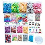 FILOL DIY Fluffy Slime Kit Supplies for Kids and Adults, Colorful Foam Beads Charms Styrofoam Balls Tools for DIY Slime Making Stress Relief Scented Toy Super Soft and Non-Sticky (Multicolor)