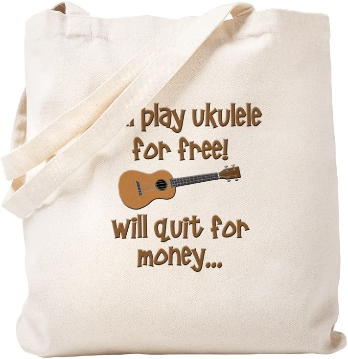 CafePress Funny Ukulele Uke Designs Tote Bag Natural Canvas Tote Bag, Reusable Shopping Bag