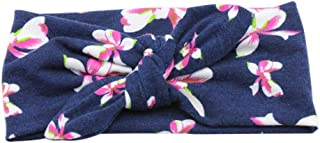 Kids Baby Girls Headbands Soft Elastic Cuekondy Newborn Infant Toddler Boho Floral Cross Hairband Turban Knotted Head Wraps (black)