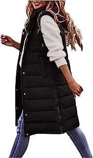 Briskorry Donsvest voor dames, lang donsjack, mouwloos, warm vest, jas met capuchon, licht, gewatteerd vest, slim giilet m...