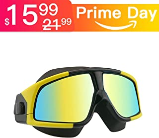 Aquior Swim Goggles, Streamlined Design Glass Leakproof Anti Fog UV Protection with Soft Silicone Nose Bride, Sport Goggles, Swimming Glass for Adult Youth Men Women