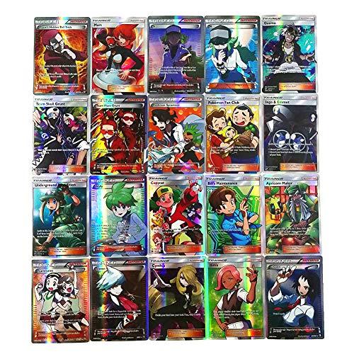 Dorara 100 Piezas Pokemon Cartas Trainer, Tarjetas Flash de Pokemon, Juego de Cartas Puzzle Fun, Cartas coleccionables, Mejor Regalo Infantil, 2018 Nuevo