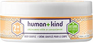 Human+kind Body Souffle Lightly Whipped Cream Moisturizer is Quickly Absorbed Great for Dry or Eczema-prone Skin Natural, Vegan Skin Care 6.76 Fl Oz