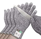 4 Pack Cut Resistant Gloves - Safety Gloves Food Grade Cut Proof Gloves, Safety Cutting Glove for Hand Protection in...