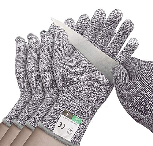 Cut Resistant Gloves 4 Pack - Safety Gloves Food Grade Cut Proof Gloves, Safety Cutting Glove for Hand Protection in Kitchen