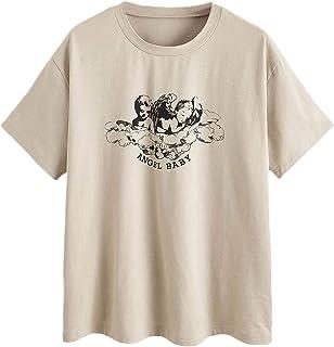 Romwe Women's Angel & Letter Graphic Print Short Sleeve Round Neck T Shirt Tee Tops