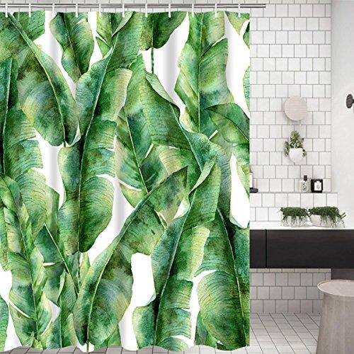 Alishomtll Pflanze Duschvorhang Antischimmel Blatt Duschvorhänge Textil Wasserdicht Shower Curtains Badewanne Waschbar mit 12 Haken, 175x178 cm Grün