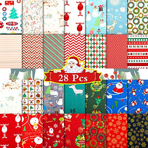 28 Pieces Christmas Fat Quarters Cotton Fabric Christmas Fabric Quilting Fabric Squares Precut Fabric Bundles for DIY Craft Christmas Party Supplies, 10 x 10 Inch, 28 Kinds of Christmas Patterns