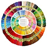 Caydo 300 Skeins Embroidery Floss, Rainbow Color Friendship Bracelets Floss with 20 Pieces Floss Bobbins