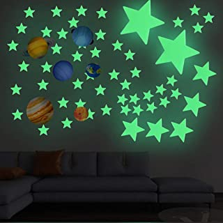 Yuehuam Glow in Dark Stars Planets Fluorescent Wall Stickers 100Pcs Bright and Realistic Stars & Planets Starry Shining Gl...