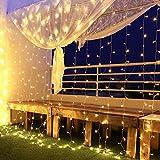 Tenda Luminosa Natale Esterno, Tenda Luci Natale Esterno Led 3x 3 m 300 Led Impermeabilità Ip44 Cascata Luci con 8 Modalità di Illuminazione Addobbi Natalizi,Festa, Giardino,Cena