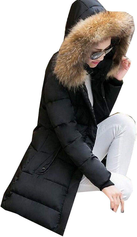 Esast Women Pure color LongSleeved Padded Packa Coats Warm Outwears Fur Hoode