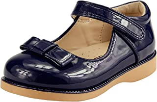 Girl's School Dress Classic Shoes Mary Jane Toddler Size Glossy Navy Blue w/Bow