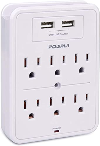 POWRUI Surge Protector, USB Wall Charger with 2 USB Charging Ports(Smart 2.4A Total), 6-Outlet Extender and Top Phone...