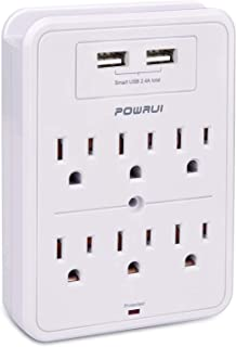 POWRUI Surge Protector, USB Wall Charger with 2 USB Charging Ports(Smart 2.4A Total), 6-Outlet Extender and Top Phone Hold...