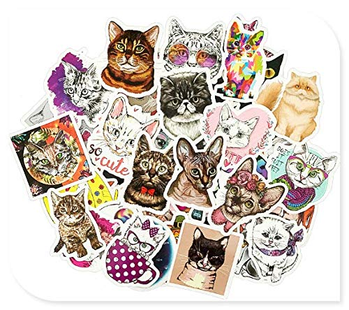 Cute Cat Stickers Luggage Trolley Case Decoration Small Pattern Guitar Panel Skateboard Computer Waterproof Stickers 50 Sheets