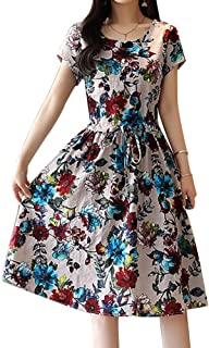 Filfeel Vestido de Mujer, Estampado Floral de Moda Casual, Cuello Redondo Un Vestido Largo de Manga Corta(3XL-Albaricoque Claro)