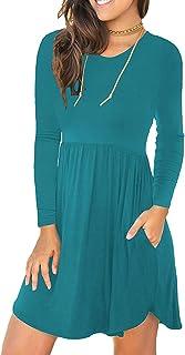 PCEAIIH vestido corto informal suelto sin mangas de manga larga para mujer con bolsillos